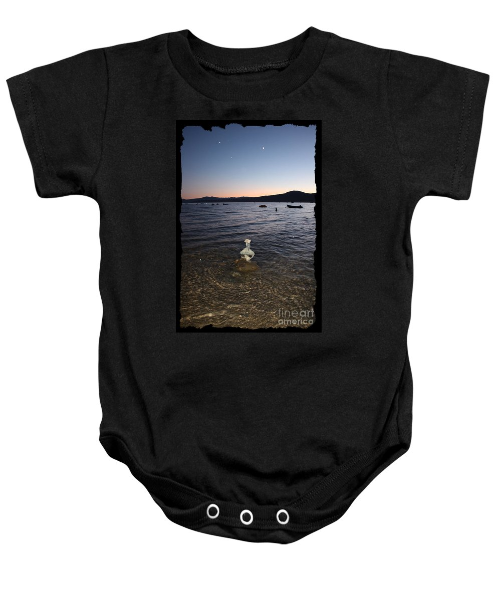 Lake Tahoe Baby Onesie featuring the photograph Lake Tahoe Sunset With Rocks And Black Framing by Carol Groenen