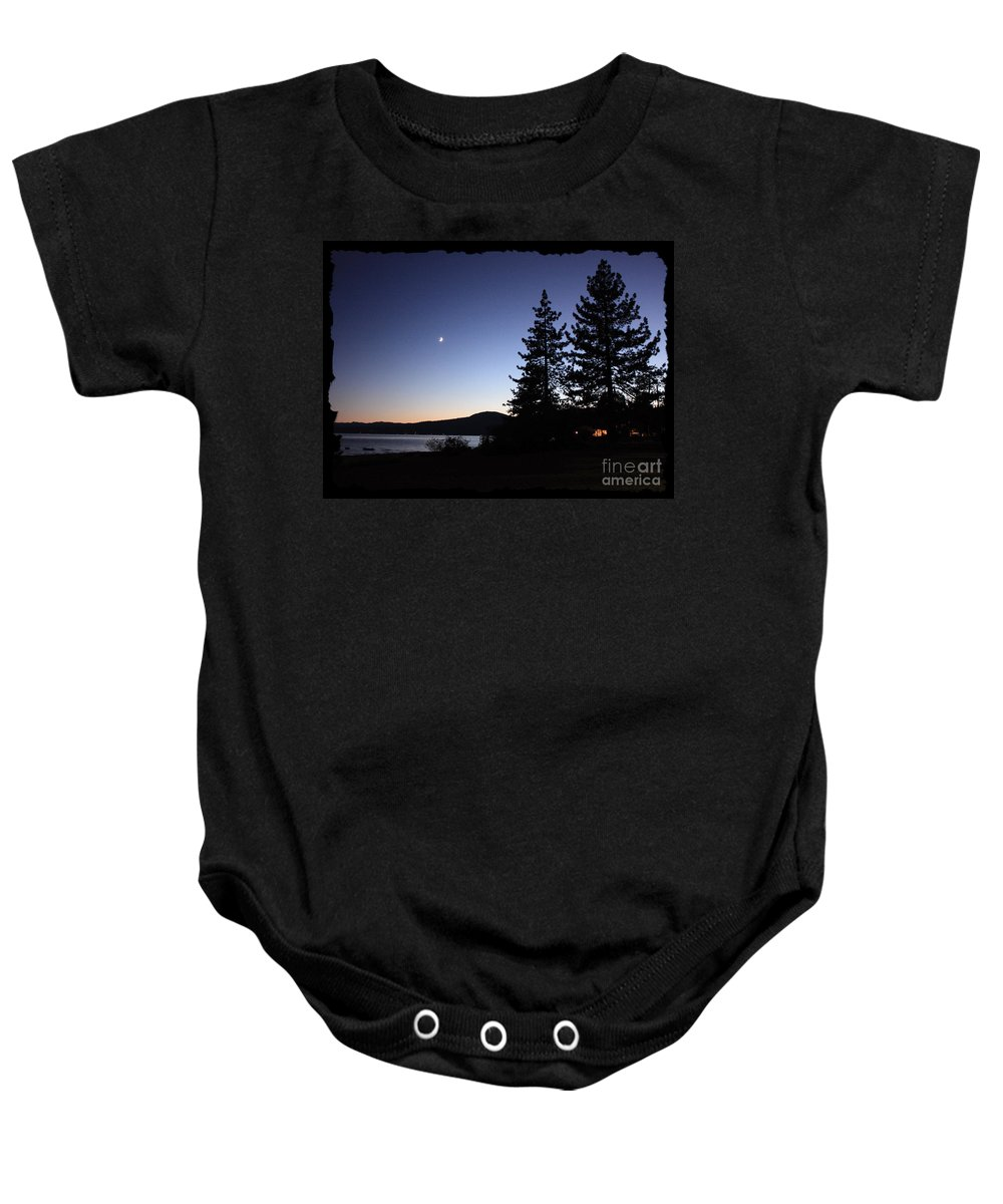 Lake Tahoe Sunset Baby Onesie featuring the photograph Lake Tahoe Sunset With Trees And Black Framing by Carol Groenen