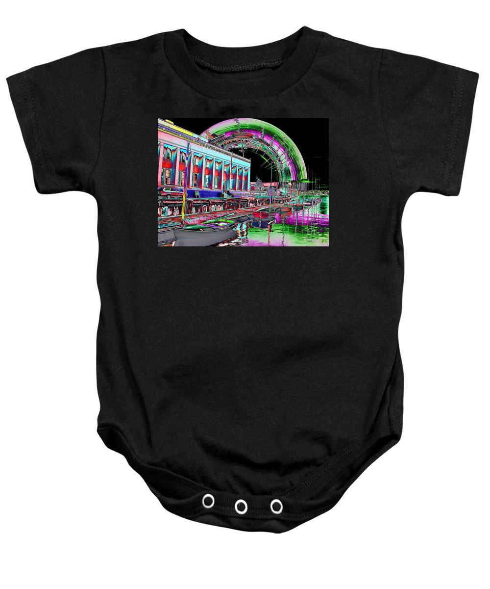 Seattle Baby Onesie featuring the photograph Lake Union Rainbow by Tim Allen