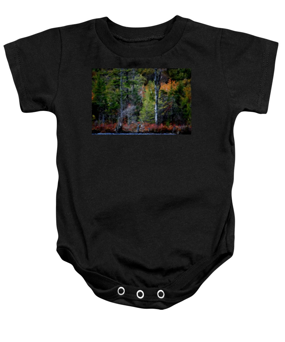 Digital Photograph Baby Onesie featuring the photograph Lakeside In The Autumn by David Lane