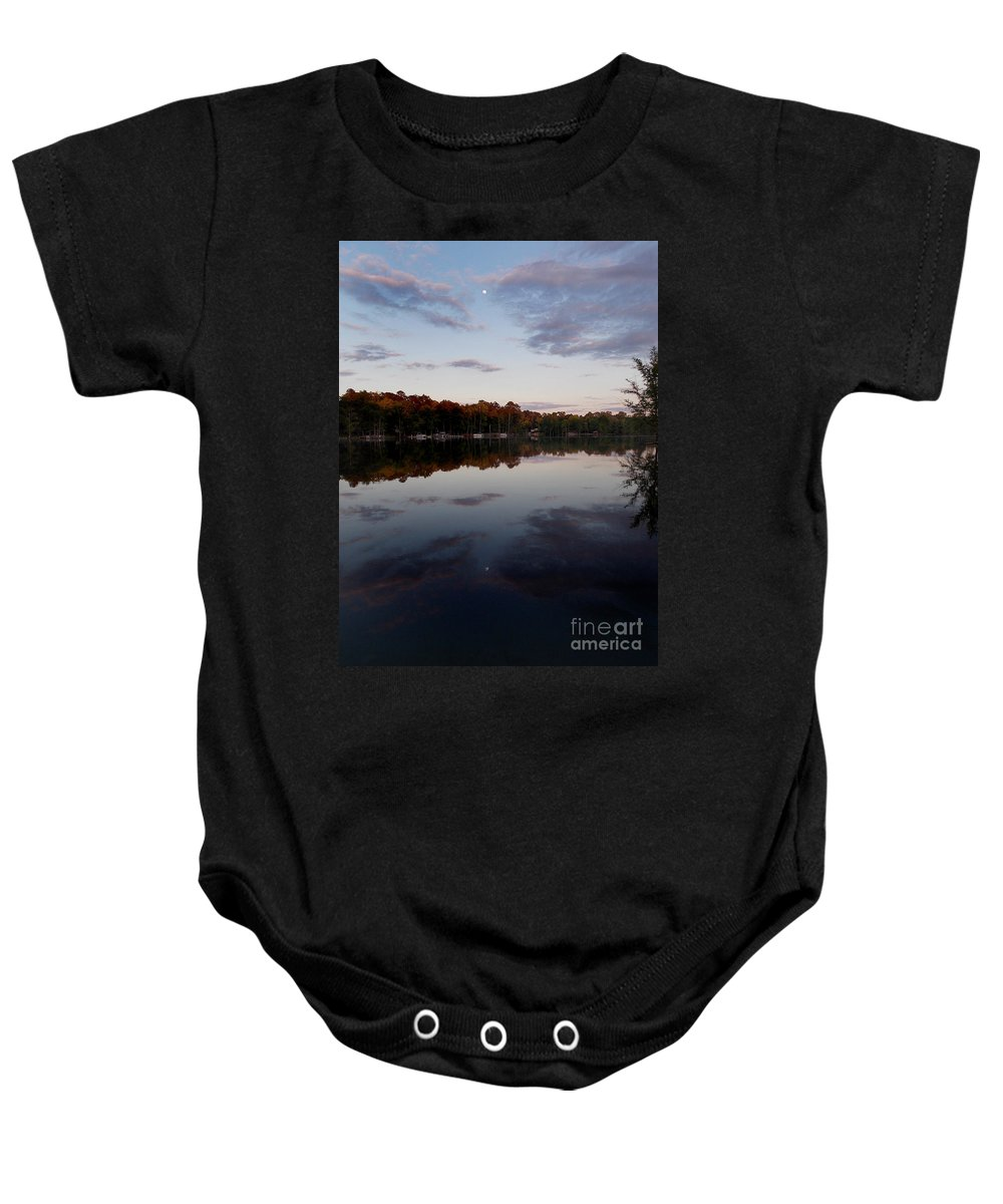 Scenic Tours Baby Onesie featuring the photograph Lakeside Moon by Skip Willits