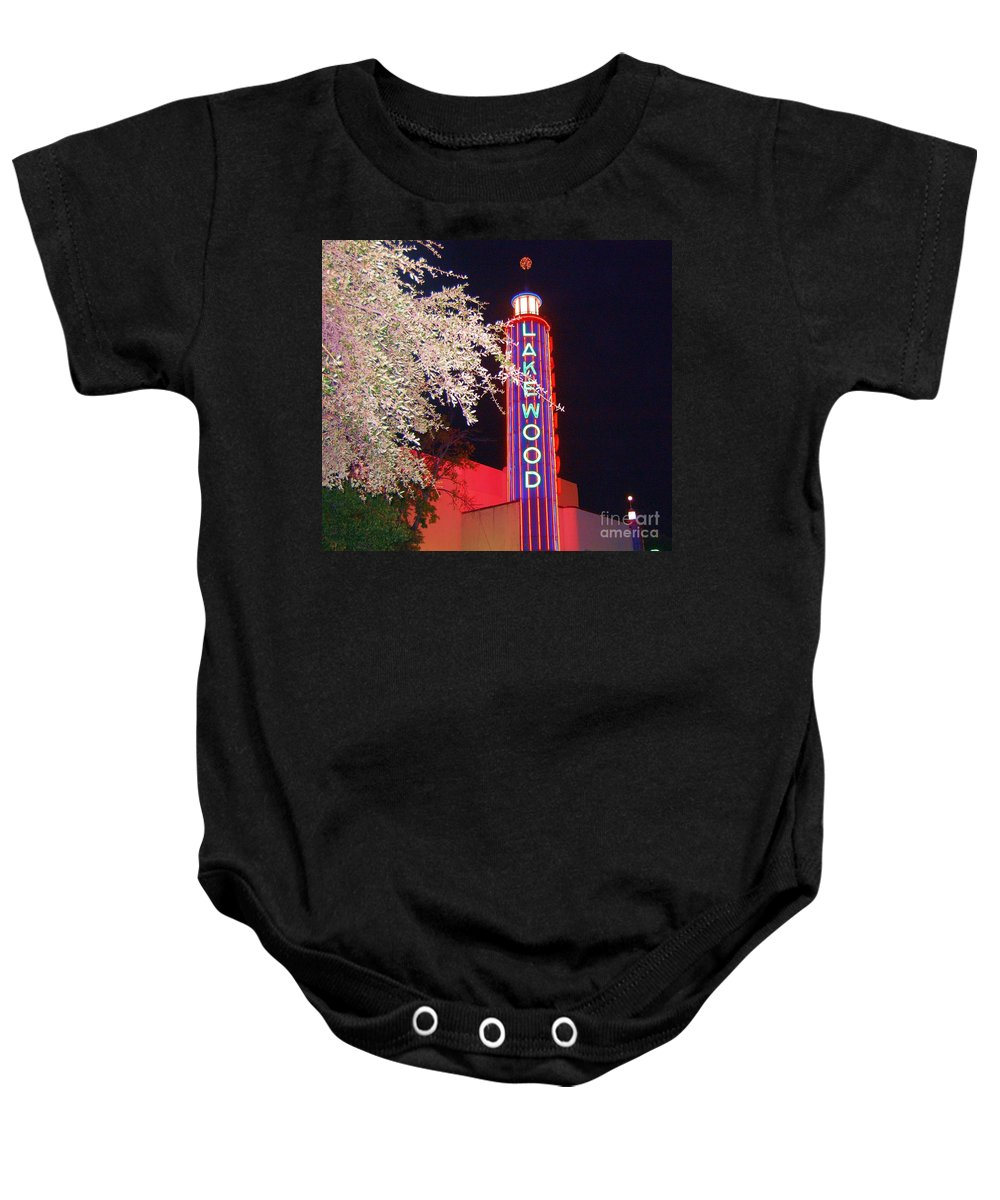 Theater Baby Onesie featuring the photograph Lakewood Theater by Debbi Granruth