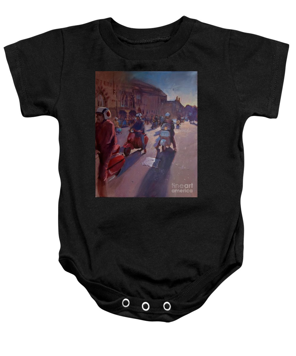 Winchester Baby Onesie featuring the painting Lambrettas At Winchester by John Welsh