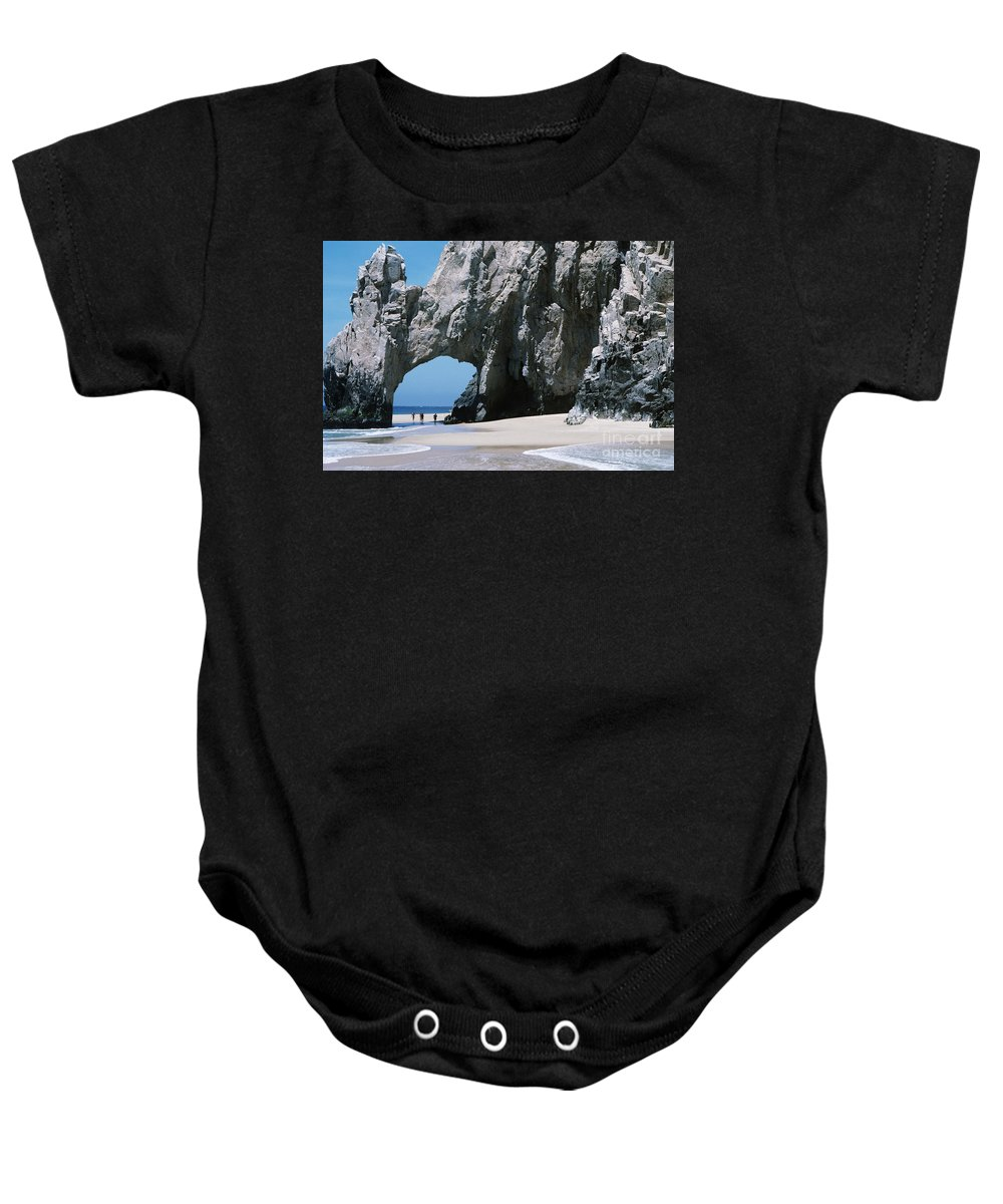 Arch Baby Onesie featuring the photograph Lands End Archway by Larry Dale Gordon - Printscapes
