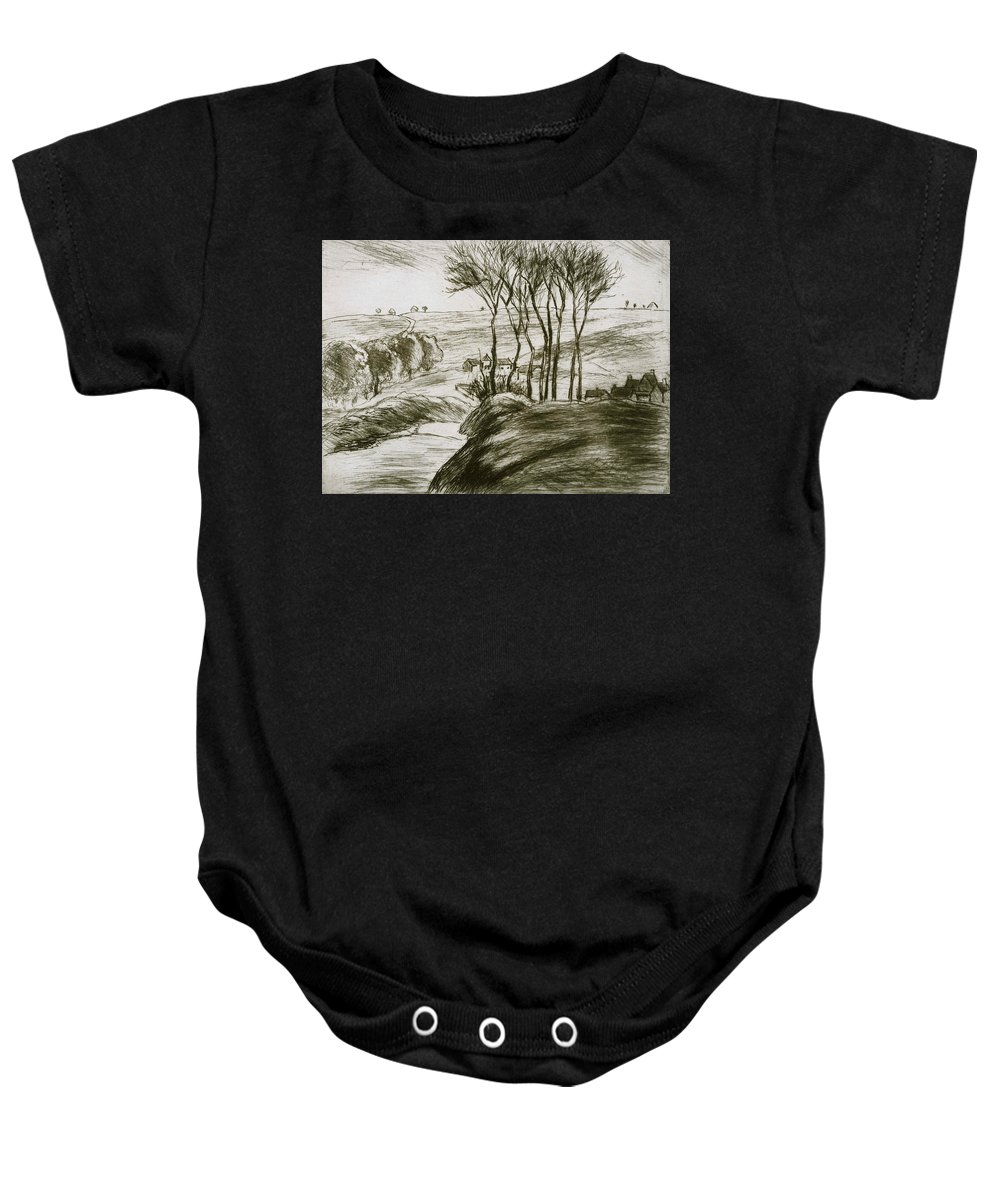 Camille Pissarro Baby Onesie featuring the drawing Landscape Near Osny by Camille Pissarro