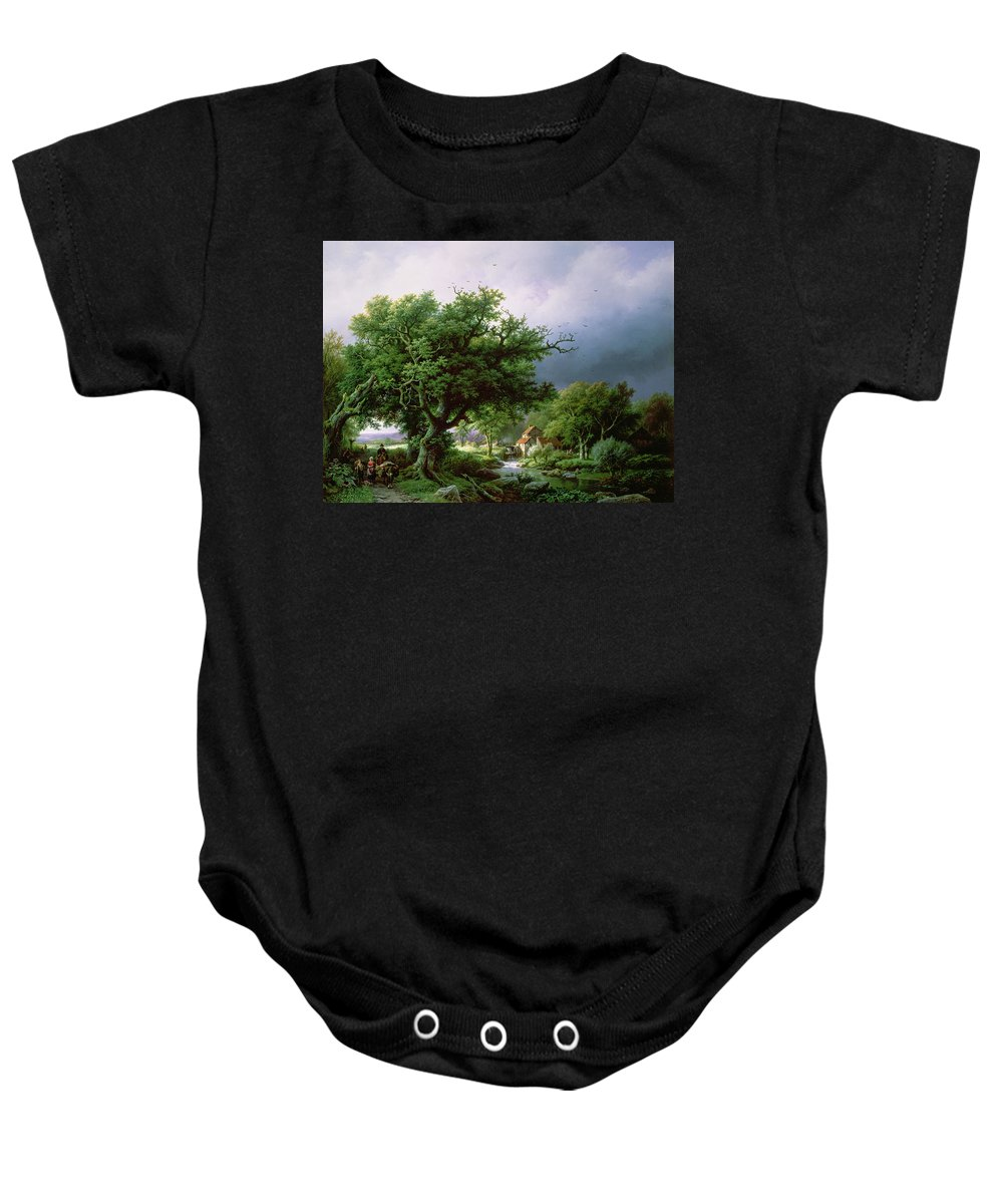 Landscape Baby Onesie featuring the painting Landscape With A Mill by Barend Cornelis Koekkoek