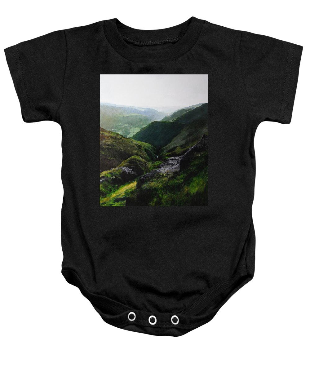 Landscape Baby Onesie featuring the painting View Towards The Coast by Harry Robertson