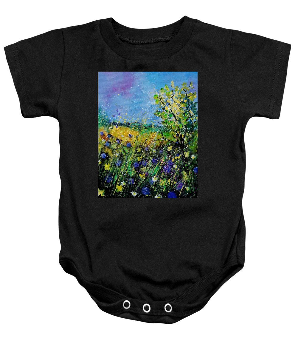 Flowers Baby Onesie featuring the painting Landscape With Cornflowers 459060 by Pol Ledent