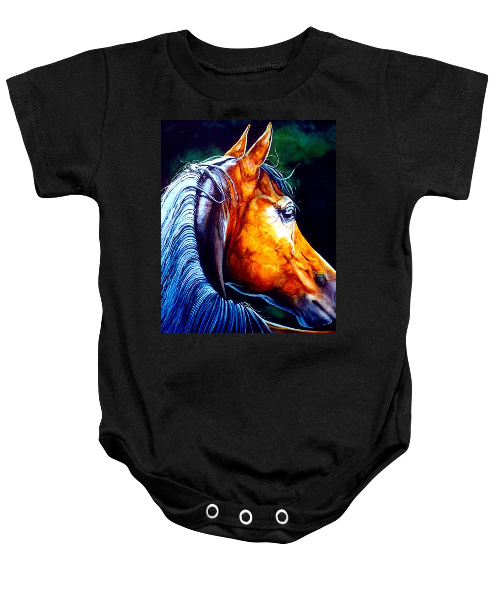 Equine Portrait Baby Onesie featuring the painting Last Light by Hanne Lore Koehler