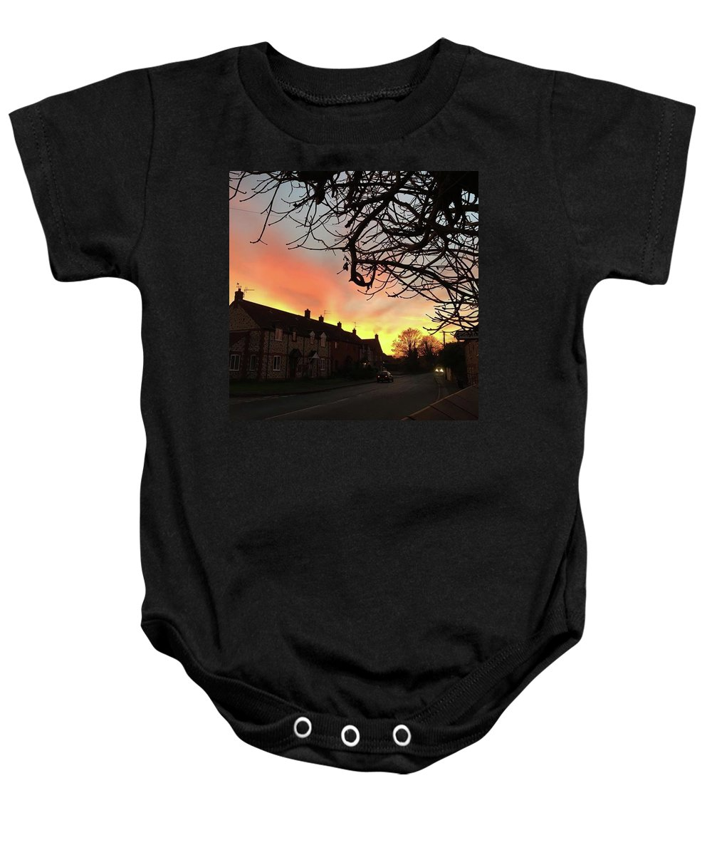 Natureonly Baby Onesie featuring the photograph Last Night's Sunset From Our Cottage by John Edwards