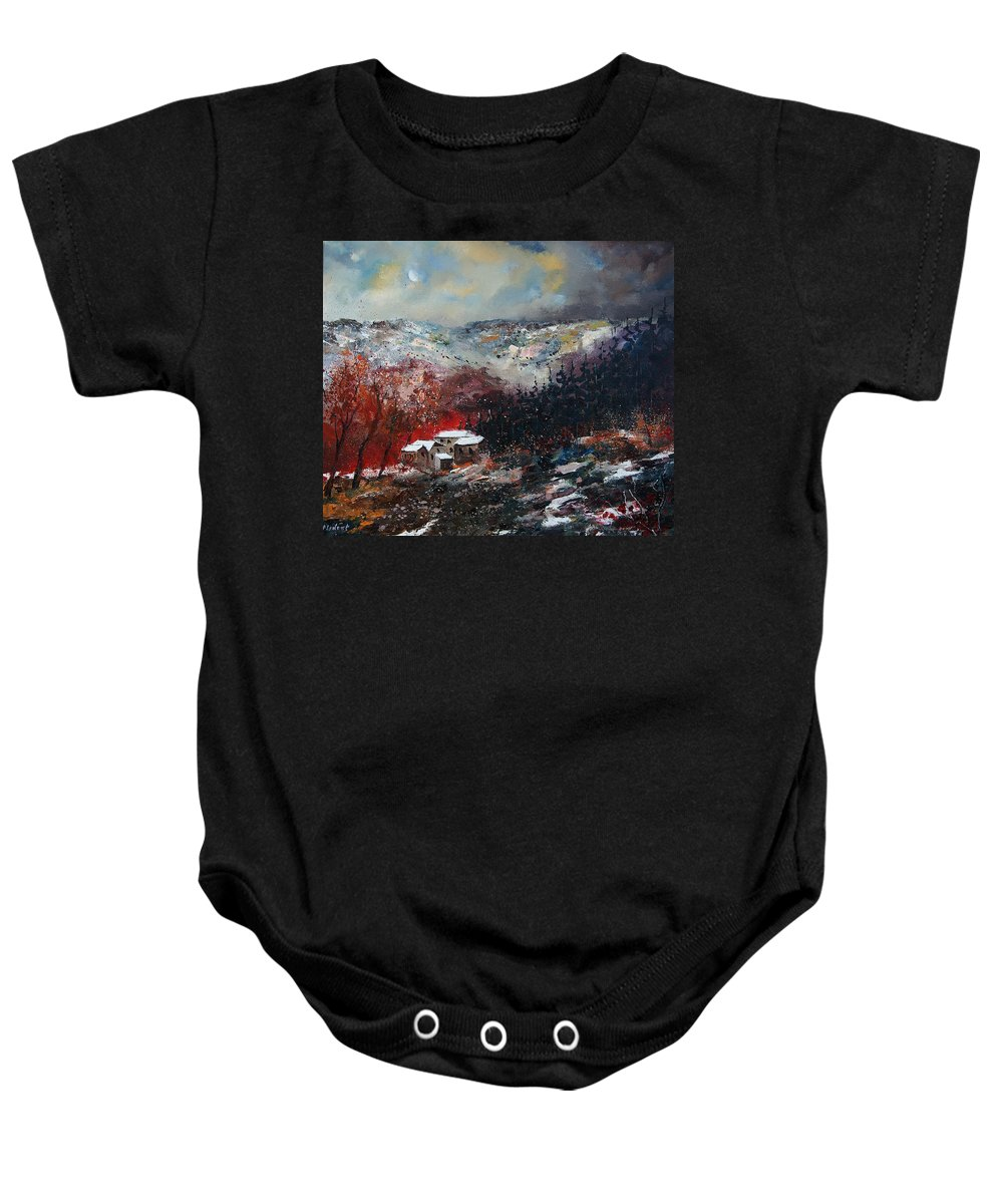 River Baby Onesie featuring the painting Last Snow by Pol Ledent