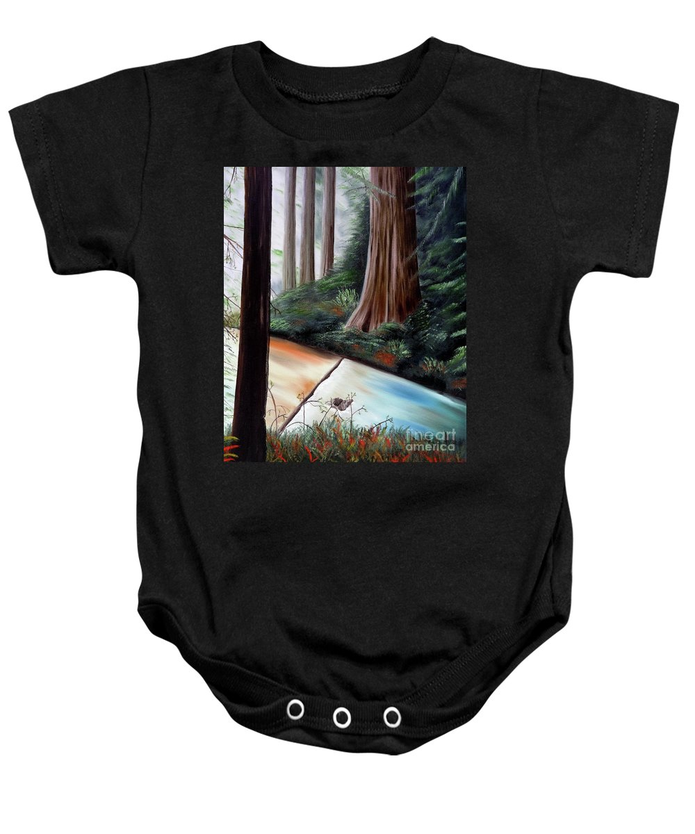 Redwood Baby Onesie featuring the painting Late Autumn At Sanborn Skyline by Laura Iverson