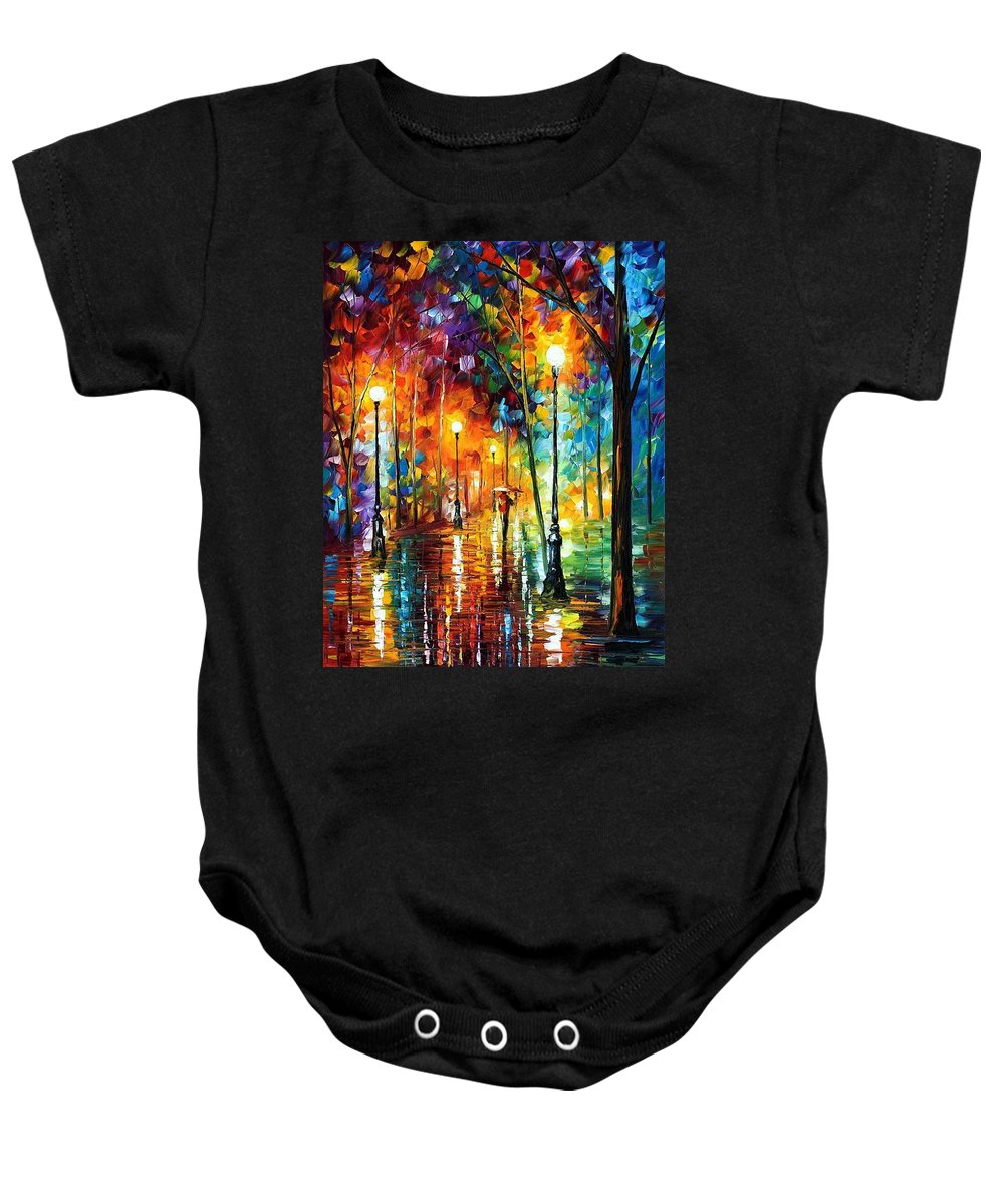 Afremov Baby Onesie featuring the painting Late Stroll by Leonid Afremov