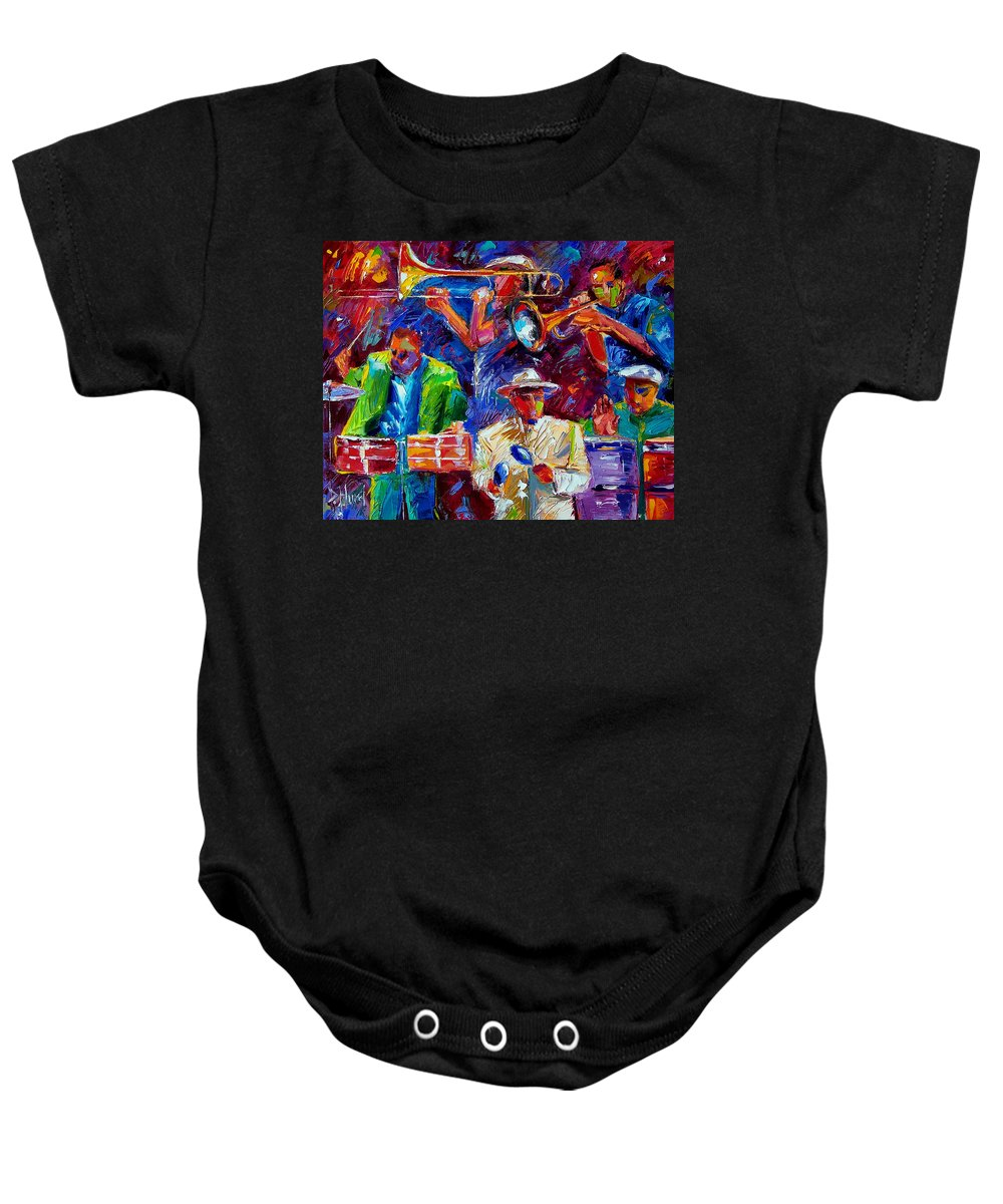 Jazz Baby Onesie featuring the painting Latin Jazz by Debra Hurd