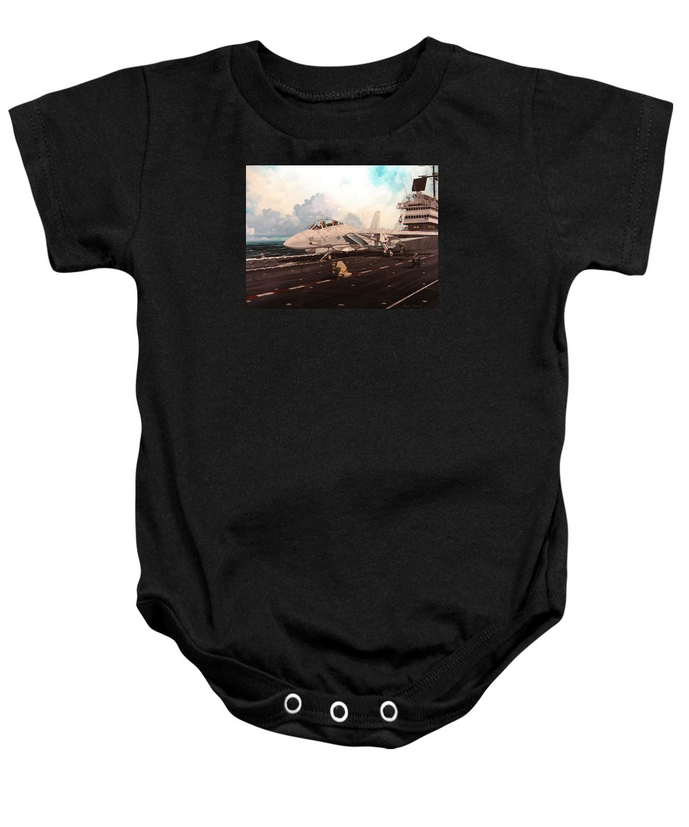 Military Baby Onesie featuring the painting Launch The Alert 5 by Marc Stewart