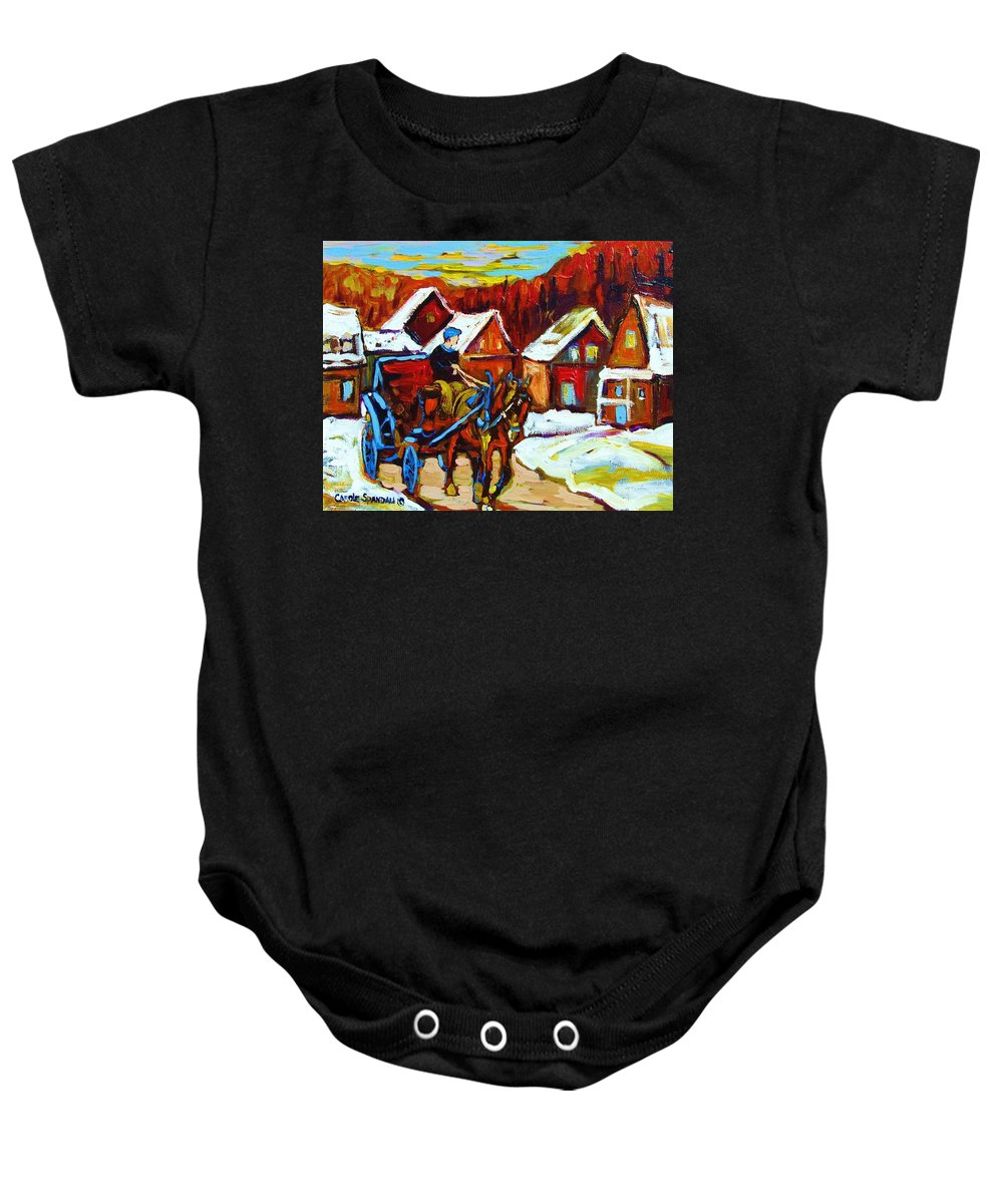 Horse And Carriage Baby Onesie featuring the painting Laurentian Village Ride by Carole Spandau
