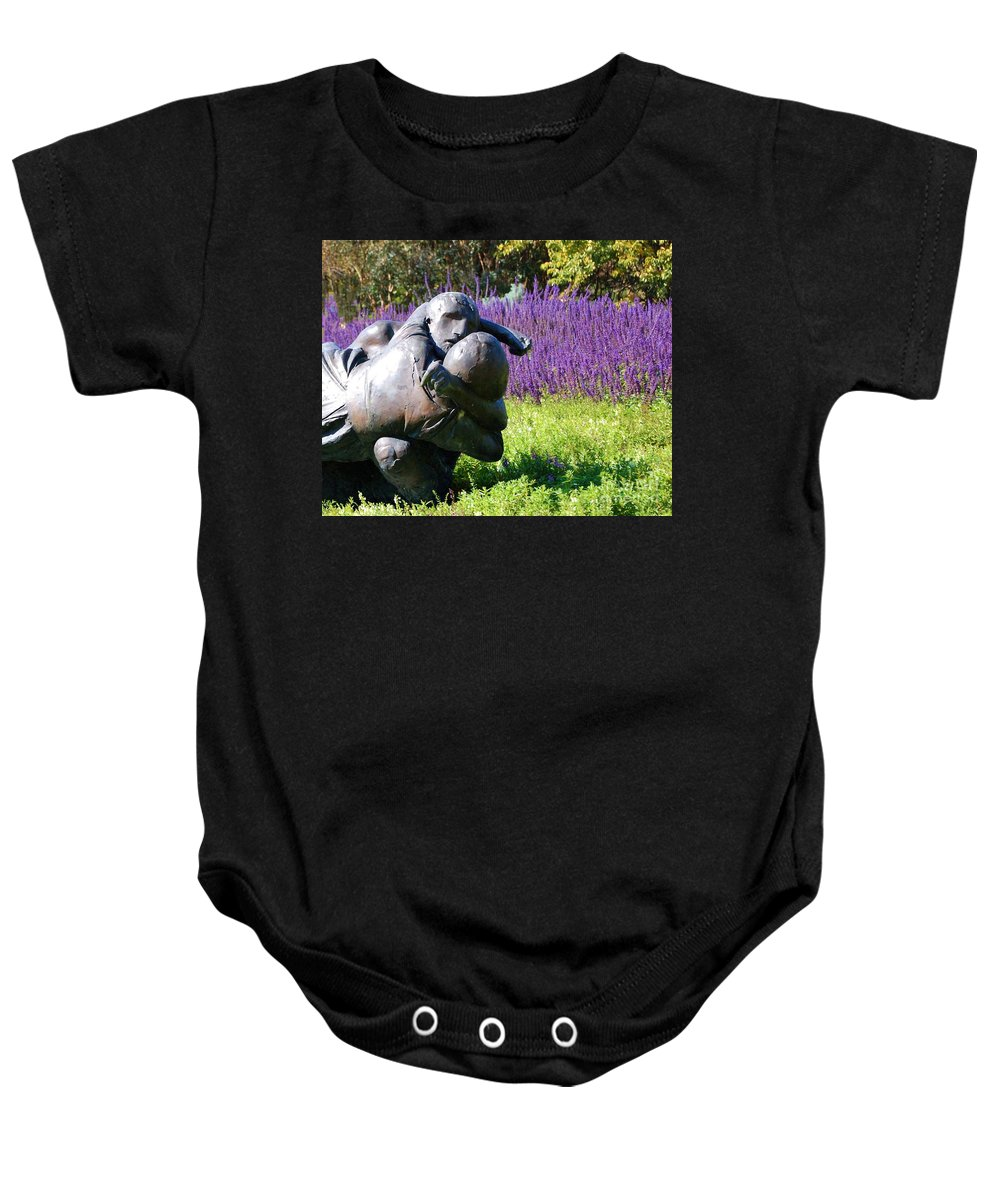 Statue Baby Onesie featuring the photograph Lavender Lovers by Debbi Granruth
