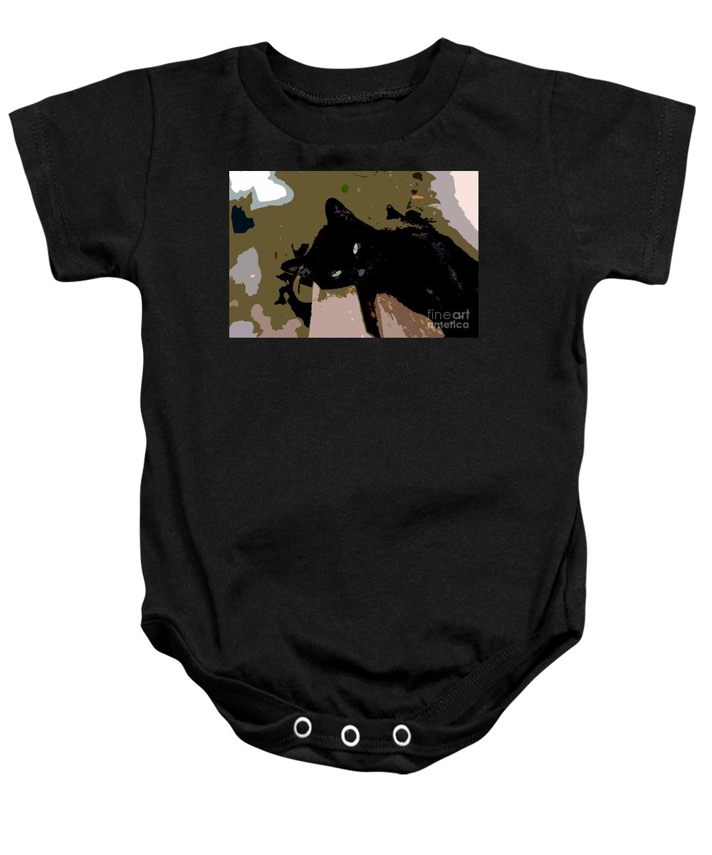 Black Cat Baby Onesie featuring the painting Lazy Cat by David Lee Thompson