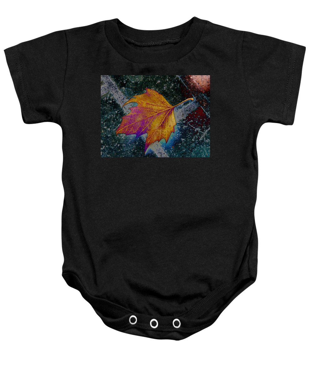 Leaf Baby Onesie featuring the photograph Leaf On Bricks 4 by Tim Allen
