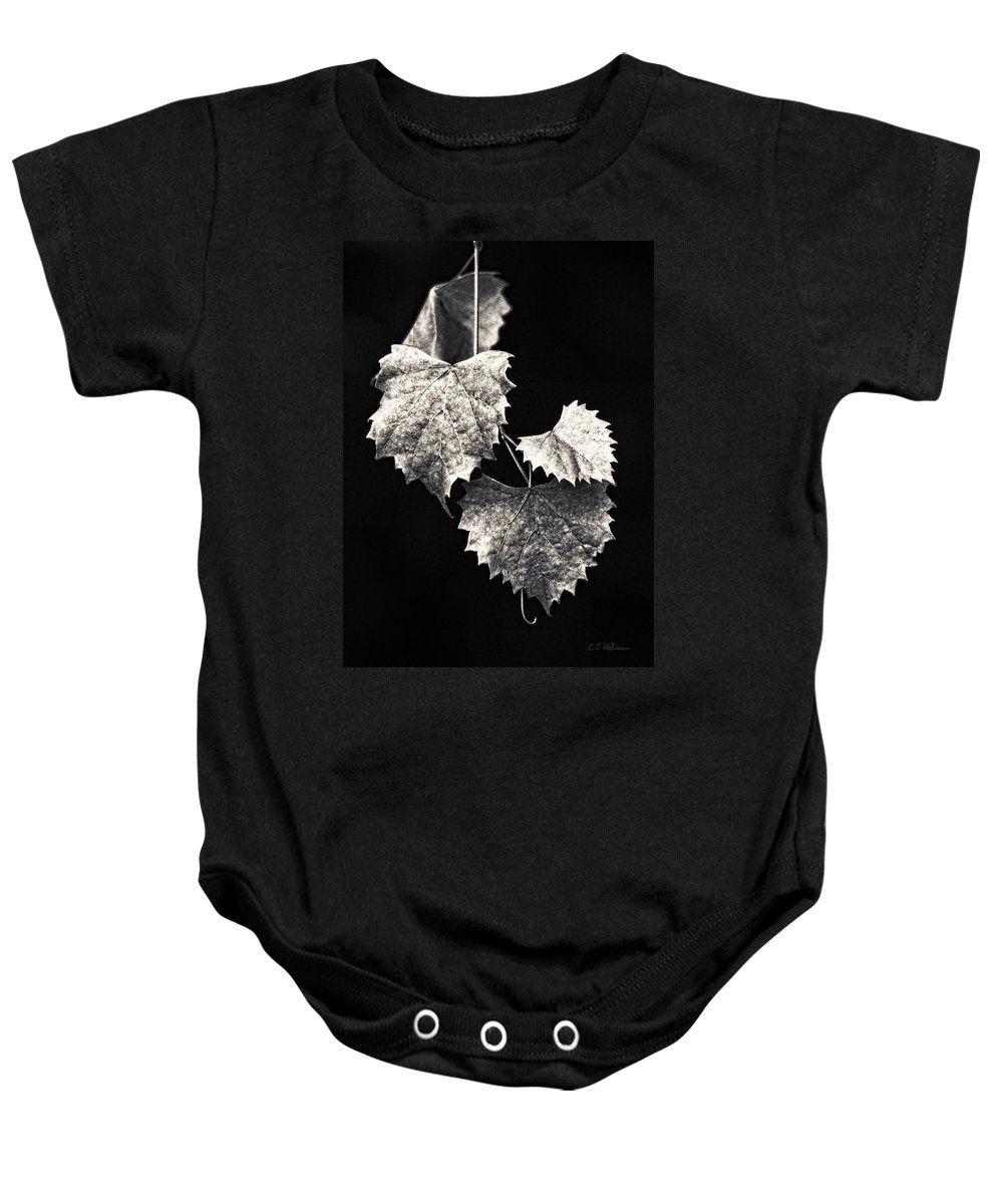 B&w Baby Onesie featuring the photograph Leaves by Christopher Holmes