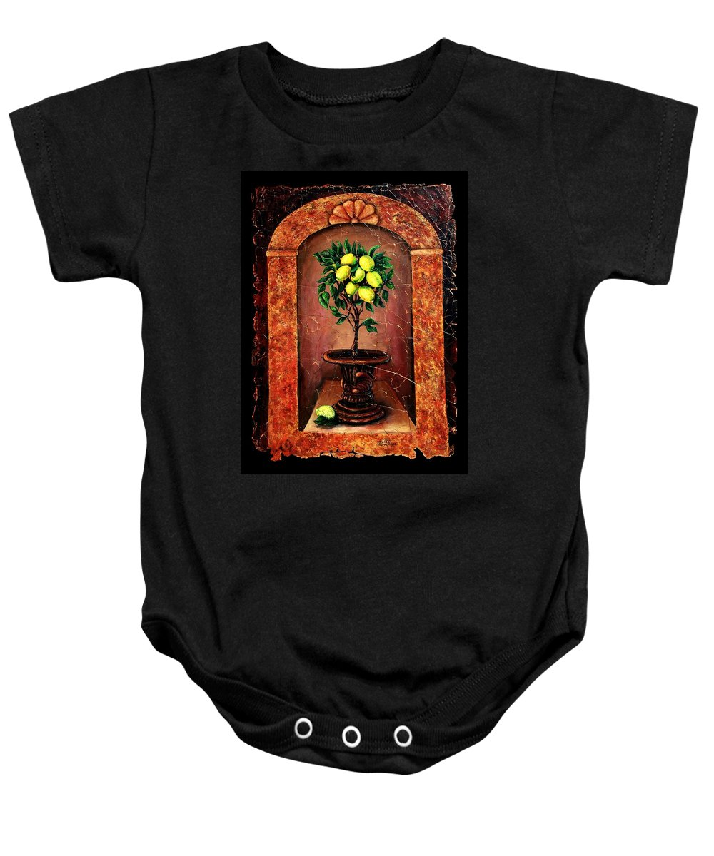 Fresco Antique Baby Onesie featuring the painting Lemon Tree by OLena Art Brand