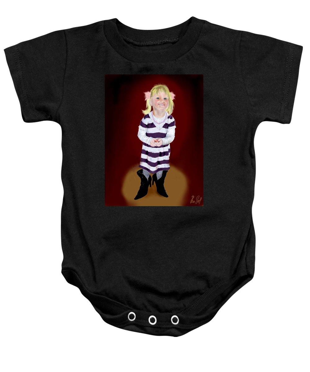 Child Baby Onesie featuring the painting Leonies Third Anniversary by Helmut Rottler