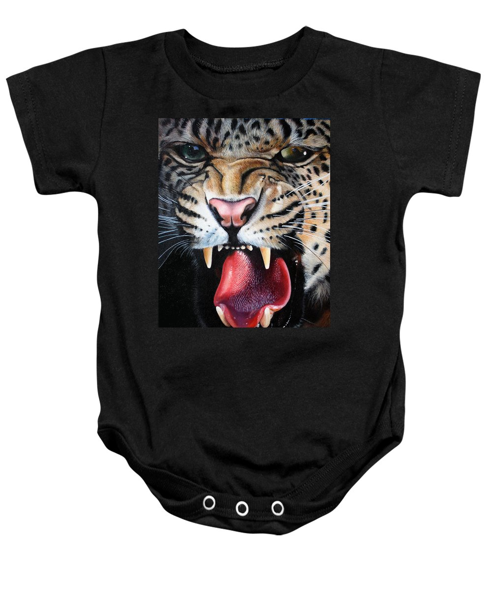 Leopard Baby Onesie featuring the painting Leopard Face by Susana Falconi