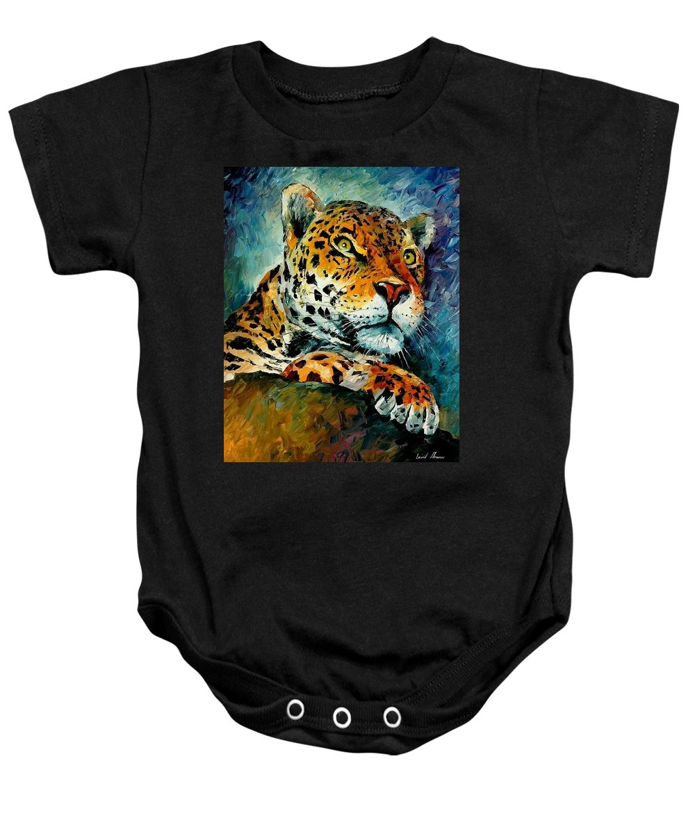 Animals Baby Onesie featuring the painting Leopard by Leonid Afremov