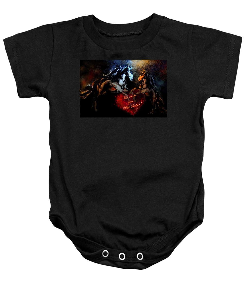 Love Baby Onesie featuring the painting Let Me Be Your Wild Stallion by Miki De Goodaboom