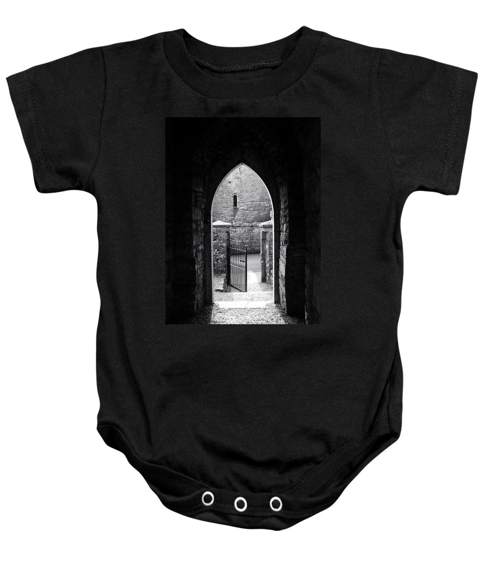 Irish Baby Onesie featuring the photograph Let There Be Light Cong Church And Abbey Cong Ireland by Teresa Mucha