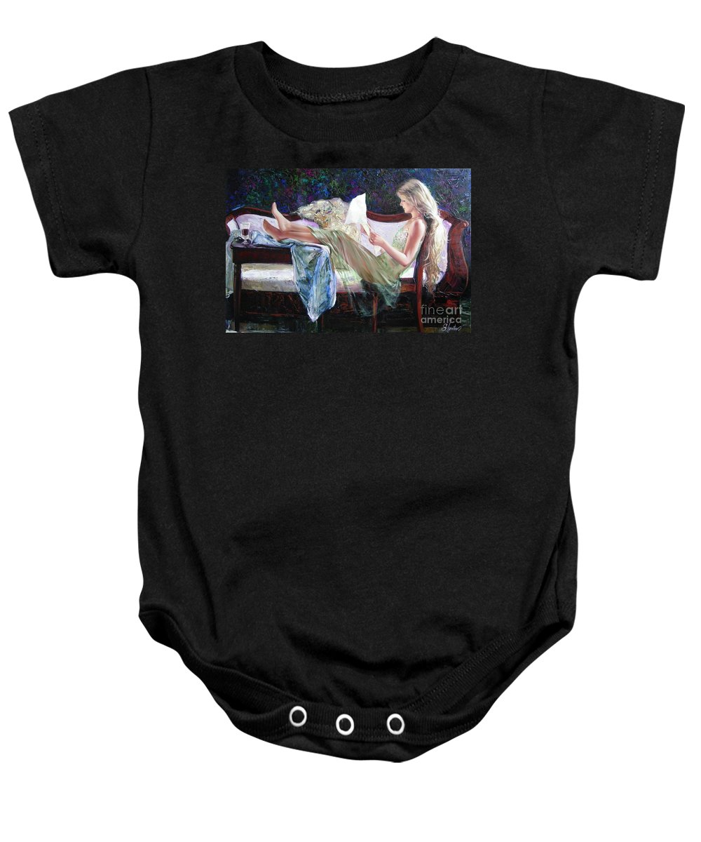 Figurative Baby Onesie featuring the painting Letter From Him by Sergey Ignatenko