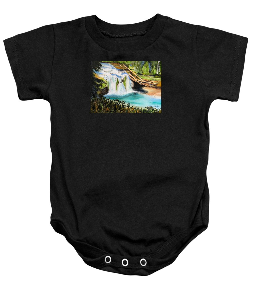 Water Baby Onesie featuring the painting Lewis River Falls by Karen Stark