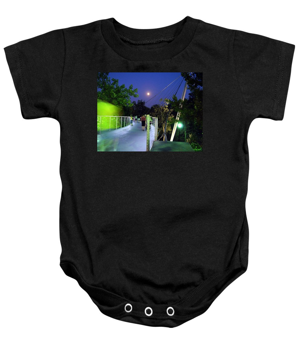 Liberty Bridge Baby Onesie featuring the photograph Liberty Bridge At Night Greenville South Carolina by Flavia Westerwelle