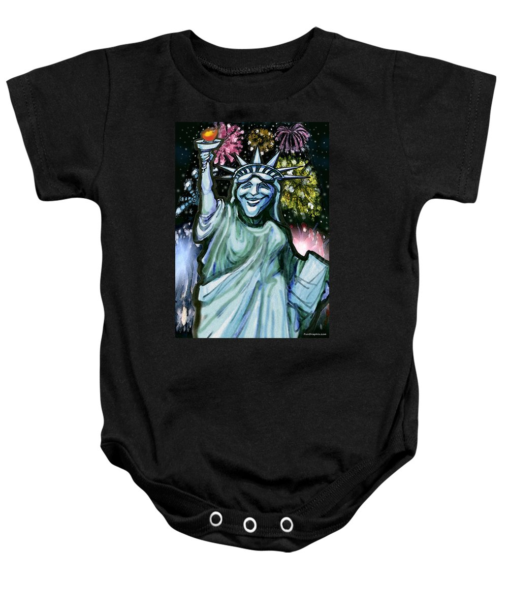 Liberty Baby Onesie featuring the painting Liberty by Kevin Middleton