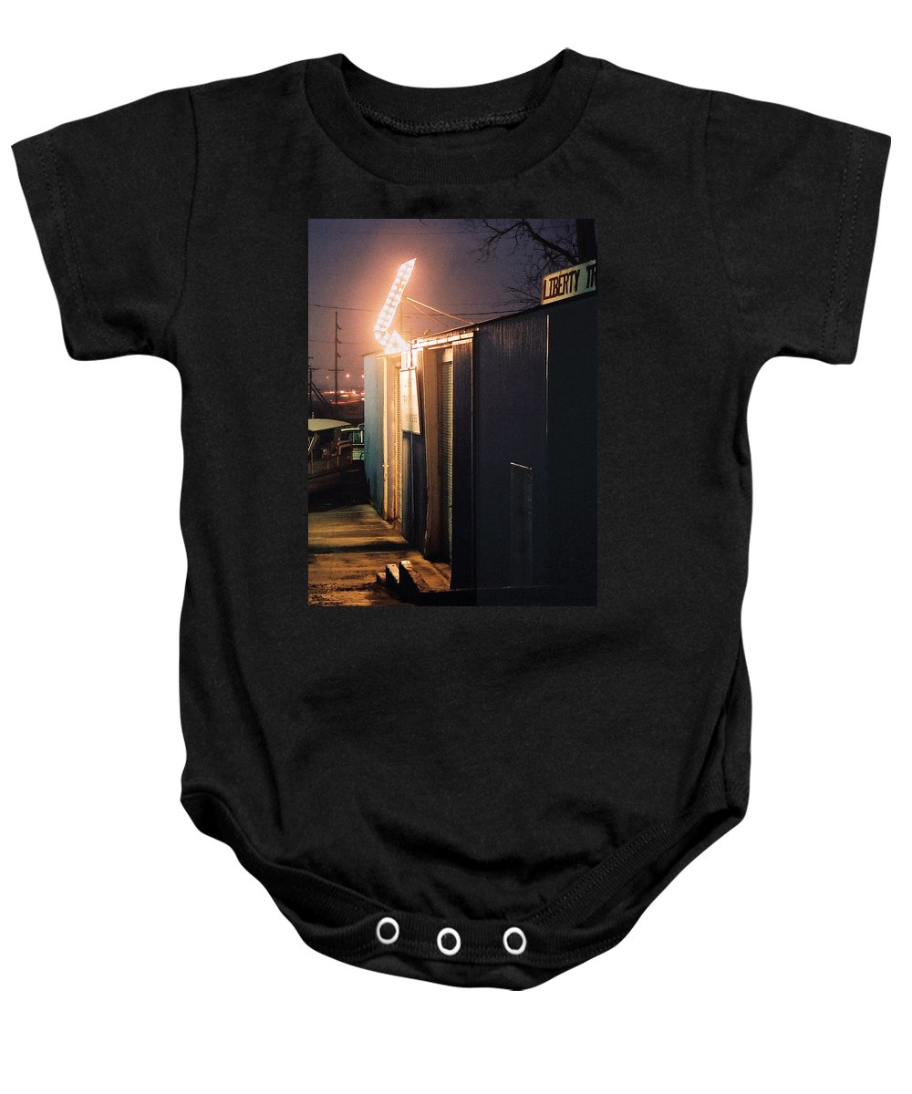 Night Scene Baby Onesie featuring the photograph Liberty by Steve Karol