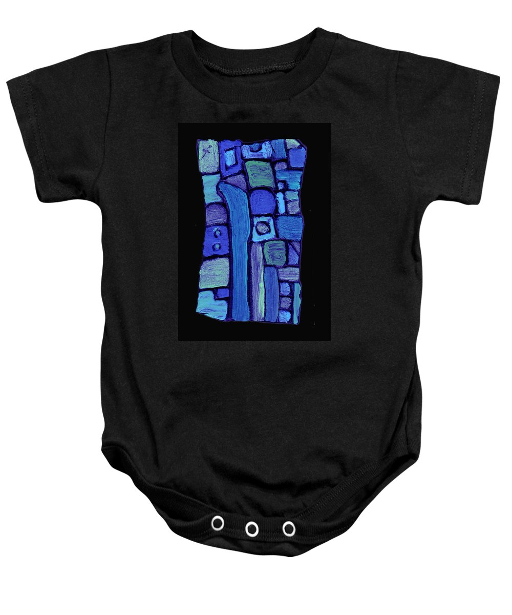 Abstract Baby Onesie featuring the painting Life In The Pond by Wayne Potrafka