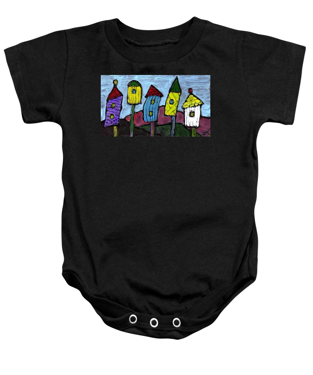 Bird Baby Onesie featuring the painting Life In The Subirds by Wayne Potrafka