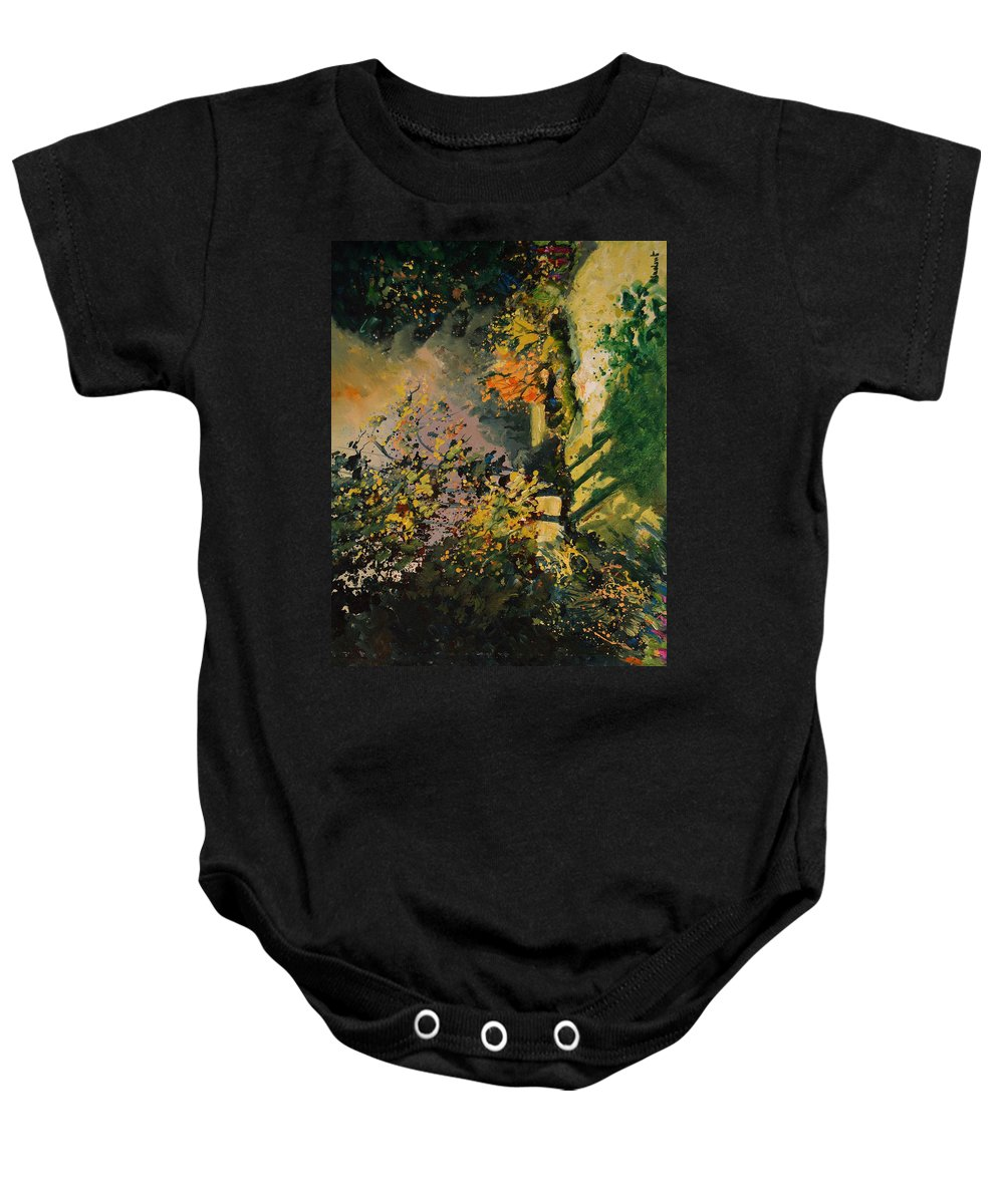 River Baby Onesie featuring the painting Light In The Wood by Pol Ledent