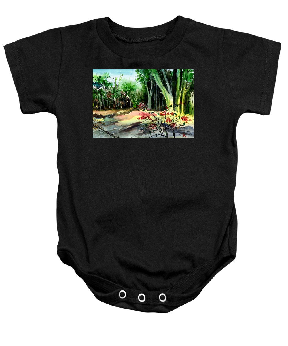 Watercolor Baby Onesie featuring the painting Light In The Woods by Anil Nene