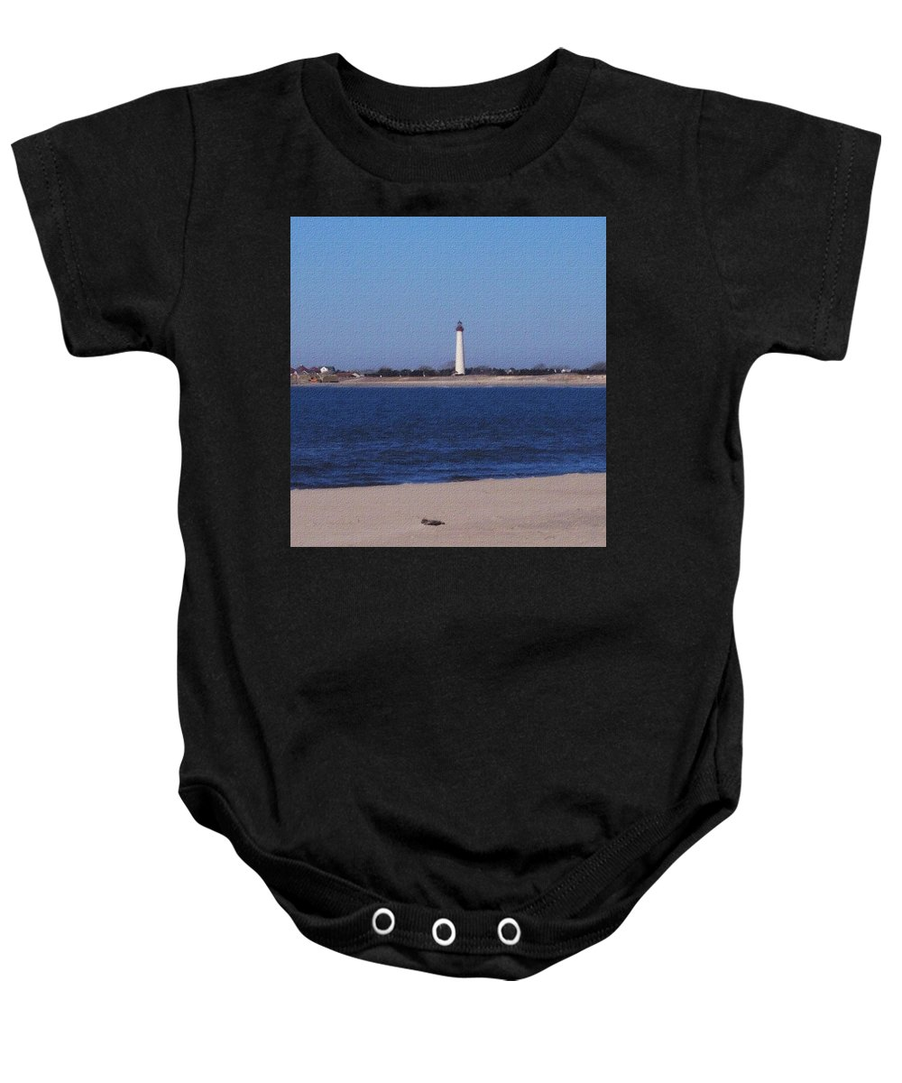 Lighthouse Baby Onesie featuring the photograph Lighthouse At The Point by Pharris Art