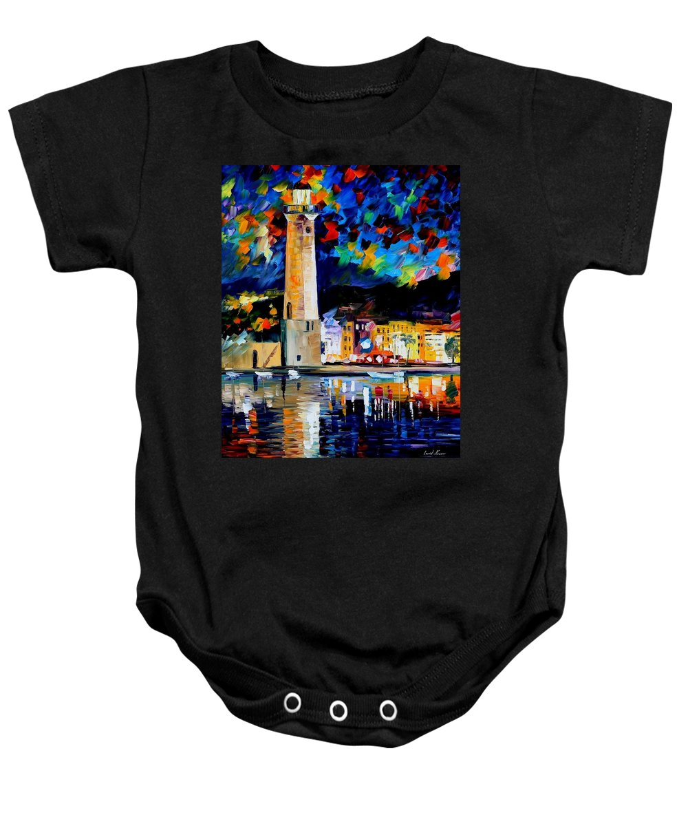 Afremov Baby Onesie featuring the painting Lighthouse In Crete by Leonid Afremov