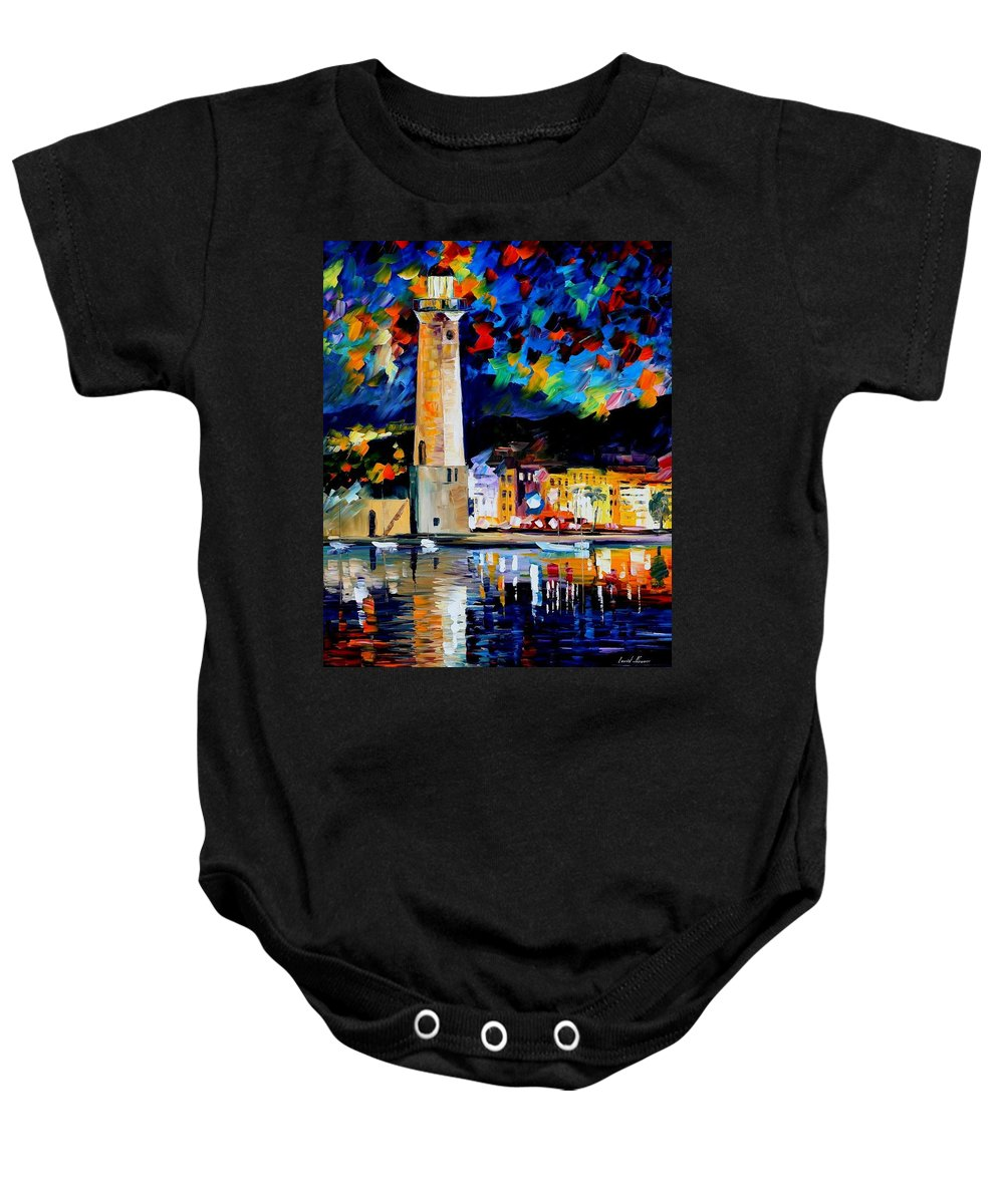 Art Gallery Baby Onesie featuring the painting Lighthouse In Crete - Palette Knife Oil Painting On Canvas By Leonid Afremov by Leonid Afremov