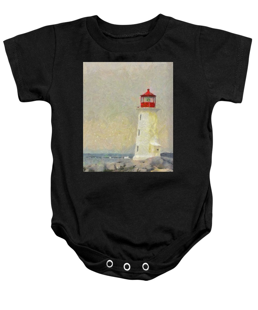 Canadian Baby Onesie featuring the painting Lighthouse by Jeffrey Kolker