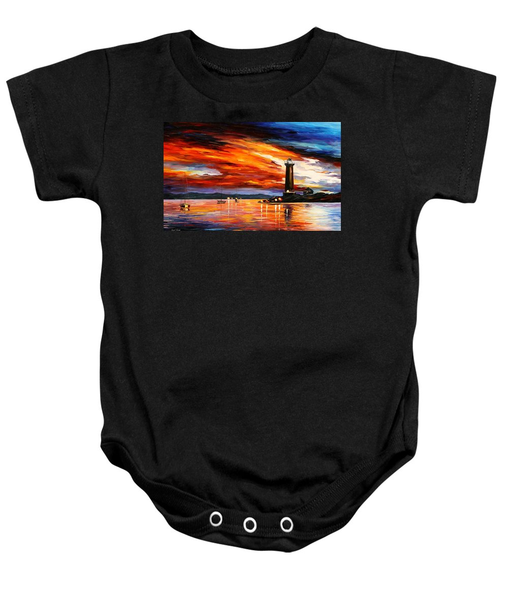Afremov Baby Onesie featuring the painting Lighthouse by Leonid Afremov