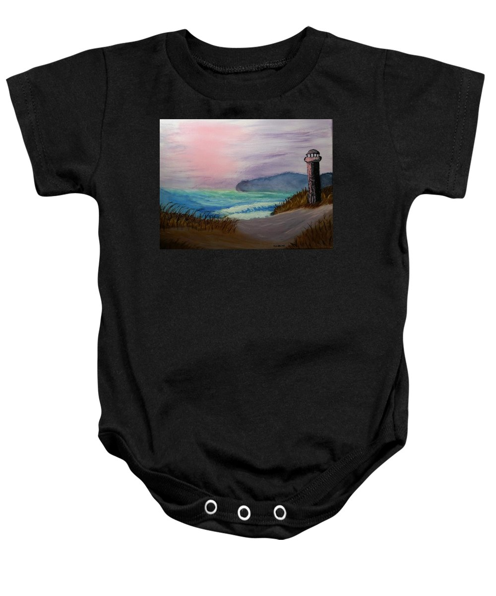 Lighthouse Baby Onesie featuring the painting Lighthouse by Tember Smith