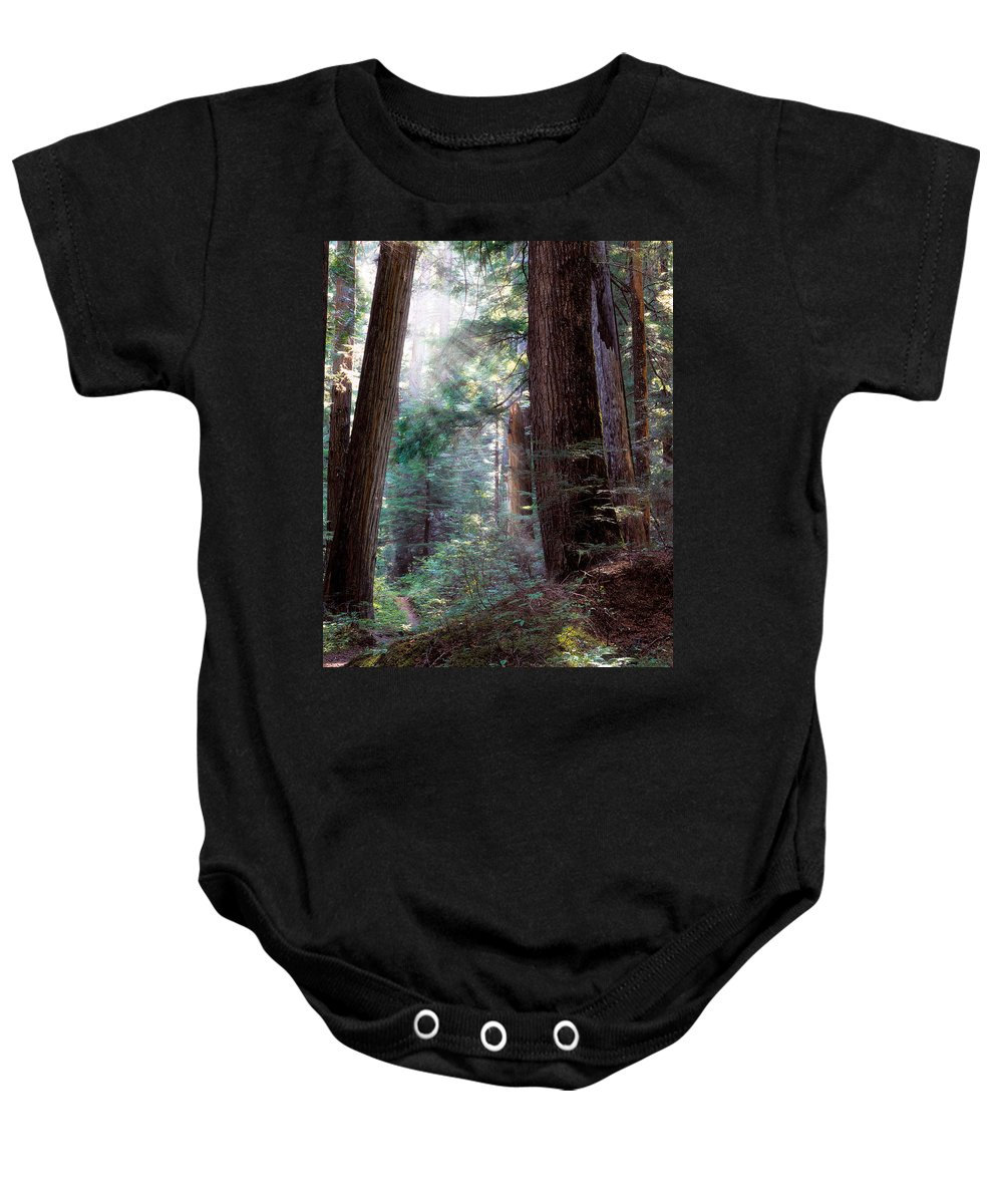 Forest Path Baby Onesie featuring the photograph Lighting The Path by Leland D Howard