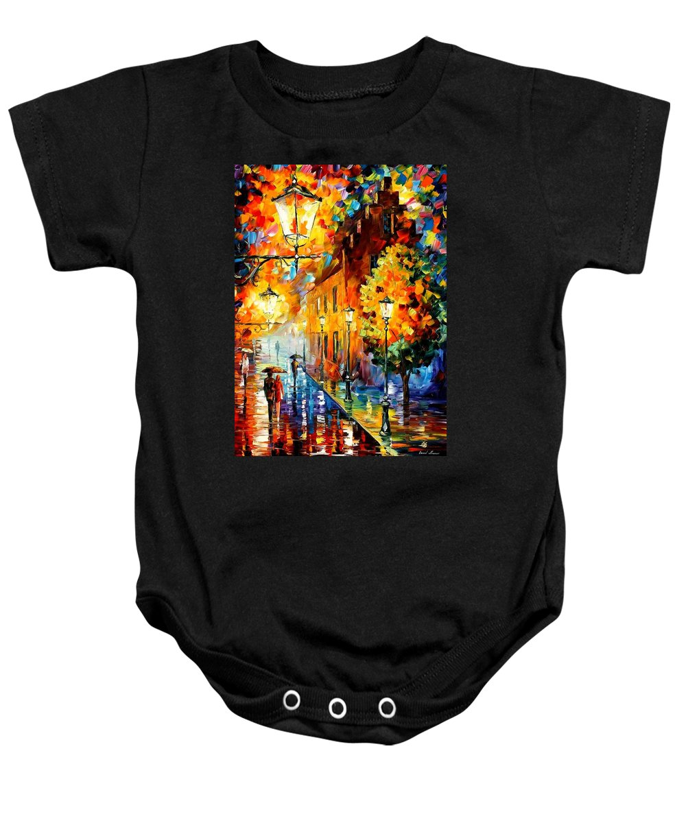 Afremov Baby Onesie featuring the painting Lights In The Night by Leonid Afremov