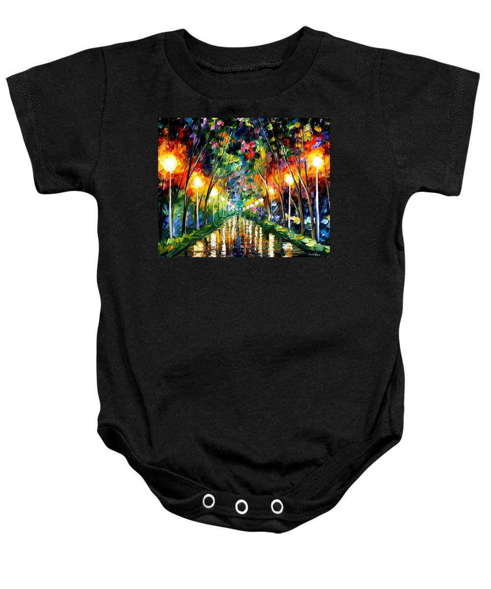 Afremov Baby Onesie featuring the painting Lights Of Hope by Leonid Afremov
