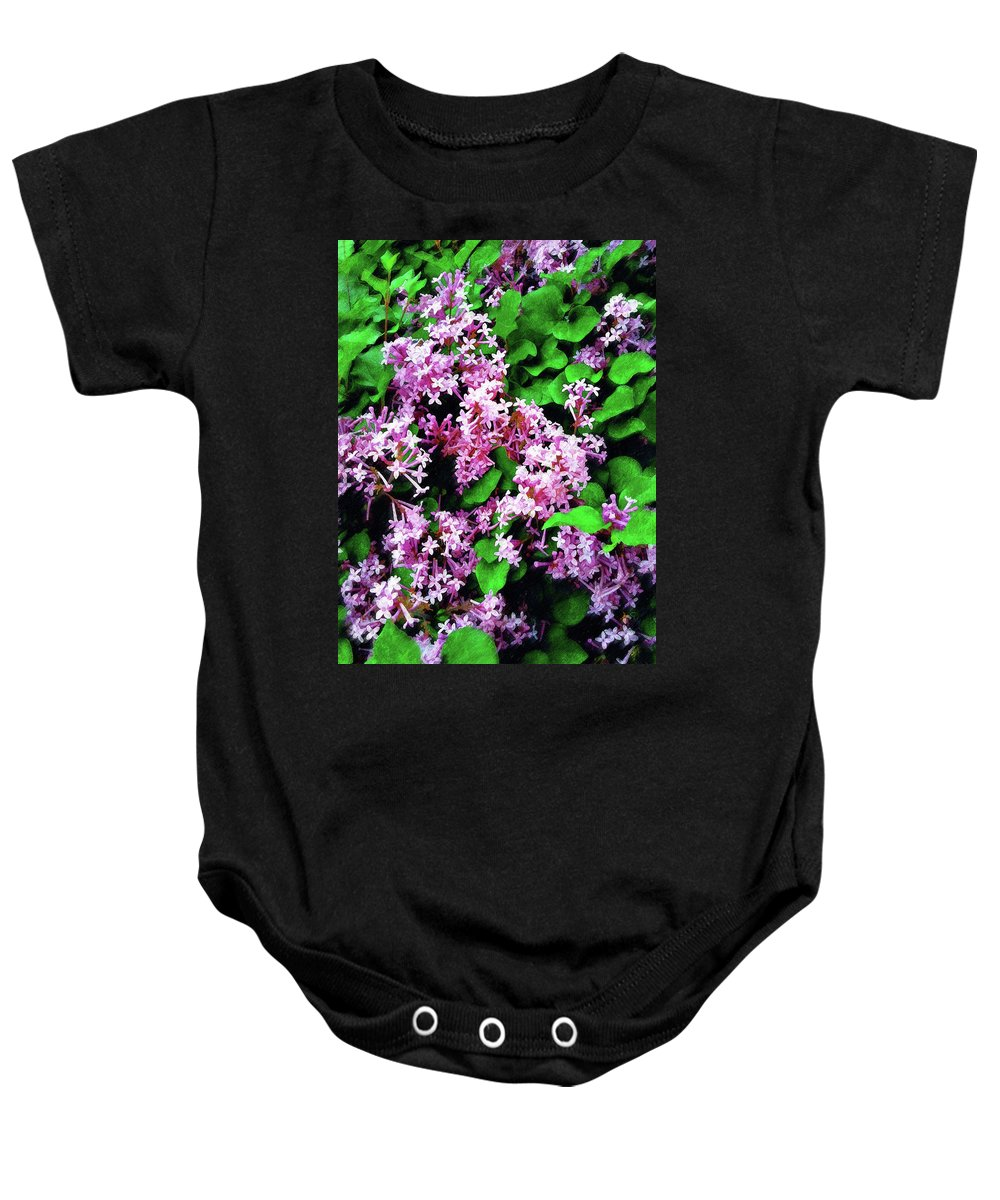 Floral Baby Onesie featuring the painting Lilacs In May by Sandy MacGowan