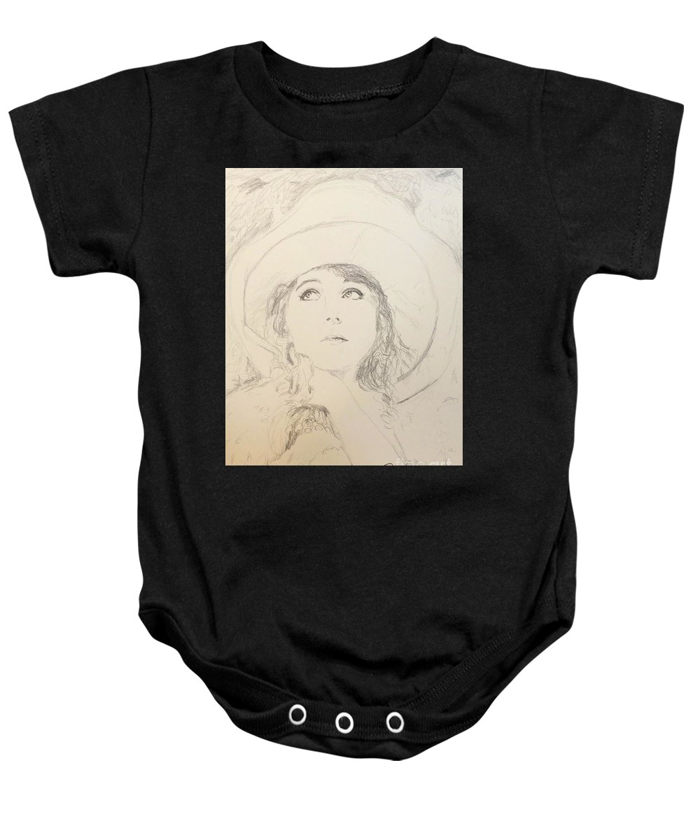 Lillian In Hat Baby Onesie featuring the drawing Lillian In Hat by N Willson-Strader